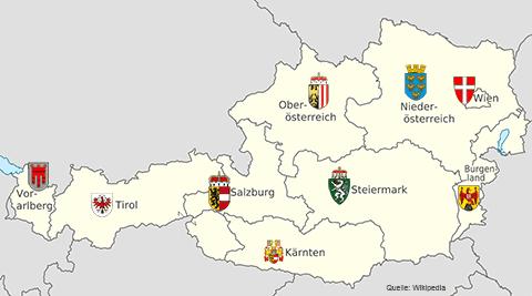 Österreich: Länder und ihre Wappen. Vorarlberg, Tirol, Salzburg, Kärnten, Oberösterreich, Steiermark, Niederösterreich, Wien, Burgenland